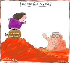 Gina on Roy Hill wave to Lang Business cartoon 2014-03-22