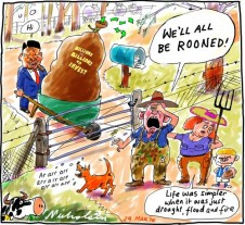 Farmer freaked out by foreign investment in agriculture cartoon 2014-03-29