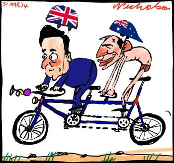 Australia to share embassy costs with Britain Tony Abbott David Cameron tandem cartoon 2014-03-31