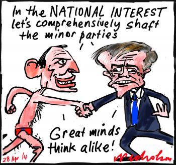 Tony Abbott Bill Shorten great minds cartoon 2014-04-28