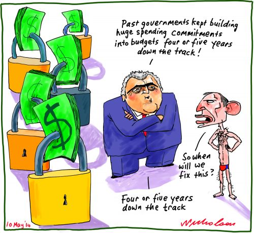 Budget traps down the track Business cartoon 2014-05-10