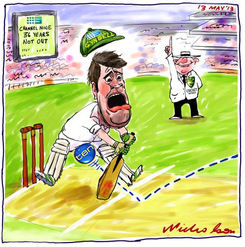 Channel 9 David Gyngell losing cricket rights to Channel10 balls cartoon 2014-05-13