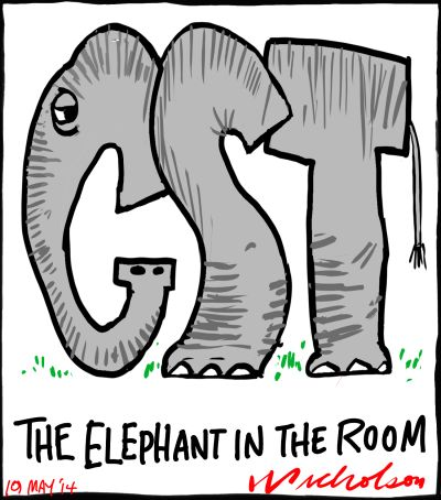 GST Budget elephant in the room cartoon 2014-05-19