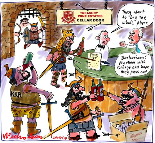 KKR raid Treasury Wine Estates TWE barbarians Grange pass out Business cartoon 2014-05-24