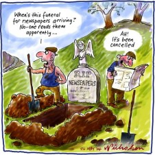 Future of Newspapers not buried Media cartoon 2014-05-26