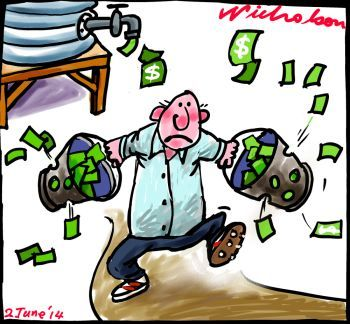 Murray Darling funding to water buybacks cut government dumps on Gillard policy bucket vcartoon 2014-06-02