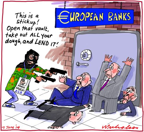 Draghi ECB European Central Bank negative rates Business cartoon 2014-06-07