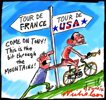 Abbott overseas Tour do France Tour de USA p1 cartoon 2014-06-09