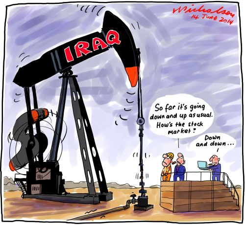 Sunni territory grab ISIS Iraq oil fields threat Business cartoon 2014-06-14