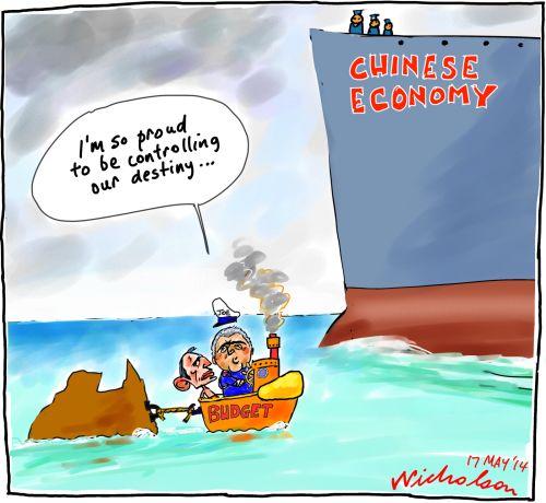 Budget Hockey wants control destiny but China does Business cartoon 2014-05-17
