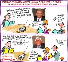 The Old bogus CV trick Palmer Gore Myer Business cartoon 2014-06-28