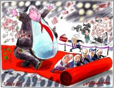 Clive Palmer media rolls out the red carpet Media cartoon 2014-07-07