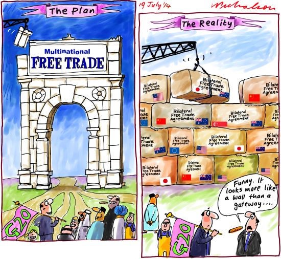 Multilateral Free Trade agreements are better than bilateral free trade agreements  Business cartoon 2014-07-19