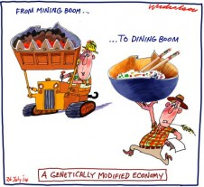 Mining Boom to Dining Boom Business cartoon 2014-07-26