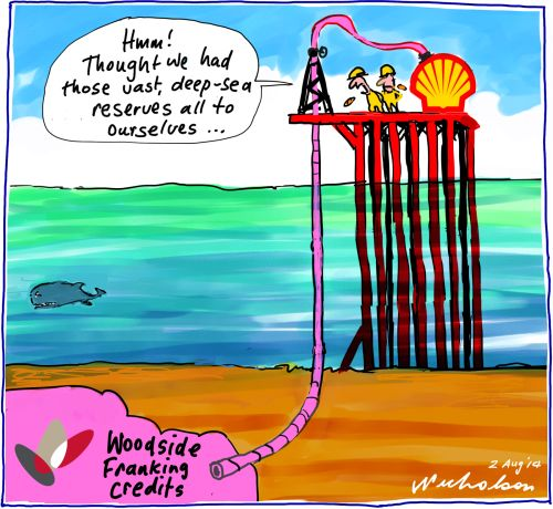 Shell want Woodside's franking credits Business cartoon 2014-08-02
