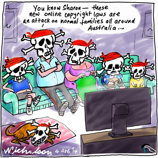 Crack down on pirate TV Media cartoon 2014-08-04