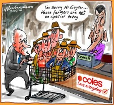 Jeff Kennett Richard Goyder Coles monitoring of bullying of suppliers Business cartoon 2014-08-09