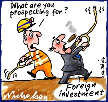 Glenn Stephens speech on foreign Investment in Mining Business cartoon 2014-08-14