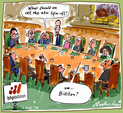 BHP demerger Billiton part out Business cartoon 2014-08-16