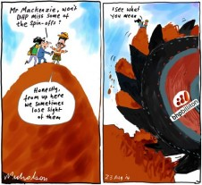 BHP demerger will they miss spinoffs iron Business cartoon 2014-08-23