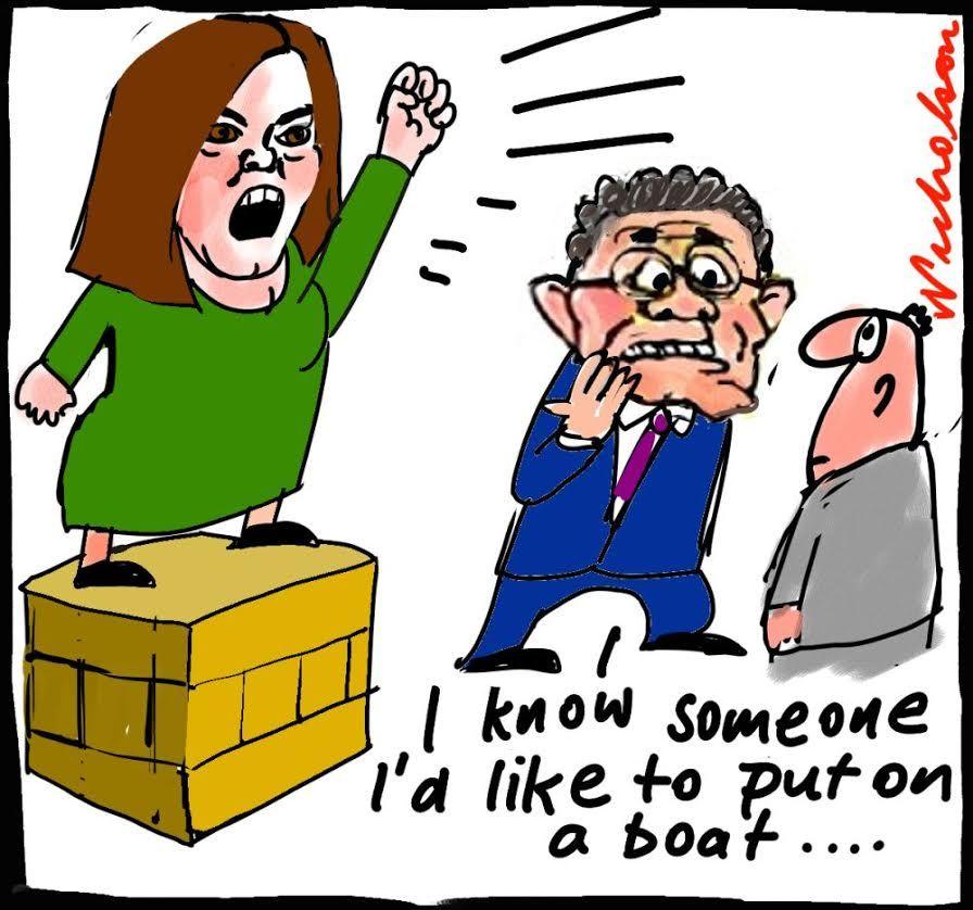 Sarah Hanson-Young soap box on boats cartoon 2014-09-01