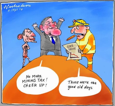Mining tax repeal good old days of big profits high ore prices Business cartoon 2014-09-06