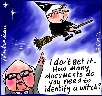 Brandis criticised in Pink Batts Inquiry  witch hunt cartoon 2014-09-08