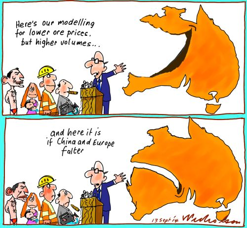 Iron ore prices falling uncertain future for economy here is modelling Business cartoon 2014-09-13