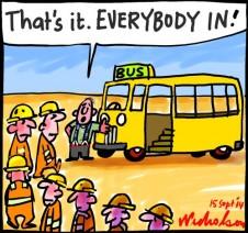 CFMEU vs Building watchdog dispute over strike about bus cartoon 2014-09-15