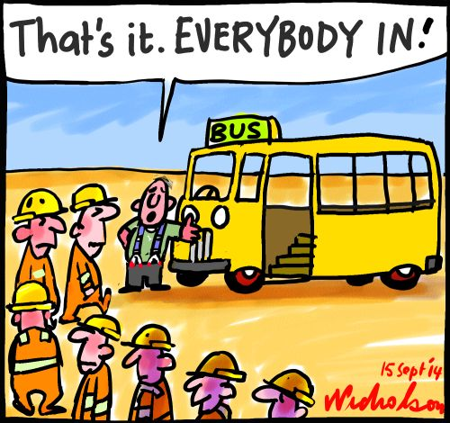 CFMEU vs Building watchdog dispute over strike about bus cartoon 2014-09-15