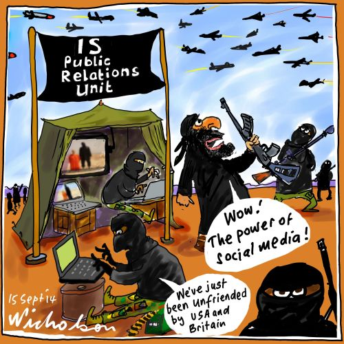 IS ISIL Iraq Sunni extremist Caliphate social media public relations atrocities Media cartoon 2014-09-15