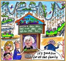 Janet Yellen Aussie dollar roller coaster ride Business cartoon 2014-09-20