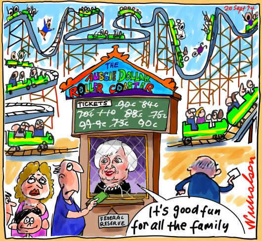 Janet Yellen Aussie dollar roller coaster ride Business cartoon 2014-09-20