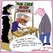 Bob Carr book sales go well Media cartoon 2014-09-22