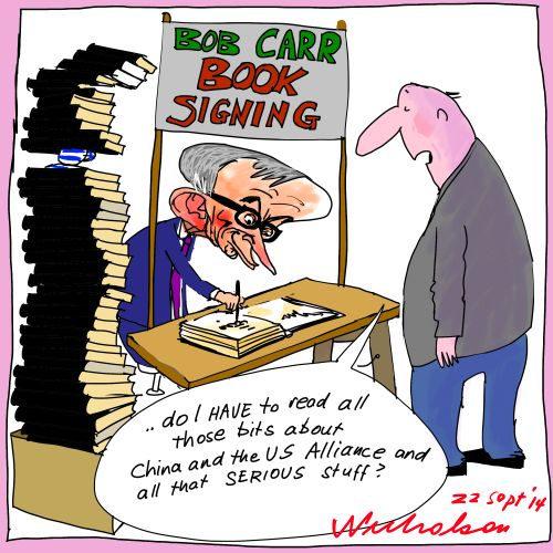 Bob Carr book sales go well Media cartoon 2014-09-22