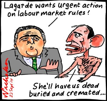 Christin Lagarde G20 presses for reforms Abbott Hockey nervous dead buried cremated p1 cartoon 2014-09-22