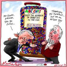 Malcolm Turnbull to Mark Scott reluctant on cuts figure Media cartoon 2014-09-29