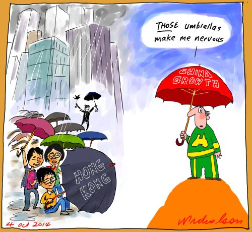 Umbrella revolution China Hong Kong fears Business cartoon 2014-10-04