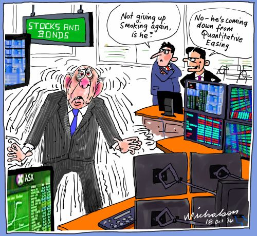 Quantitative Easing addiction in share markets business cartoon 2014-10-18