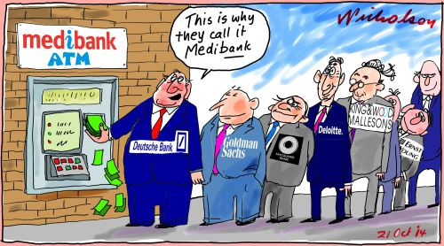 Medibank share sale big fees for banks institutiions business cartoons 2014-10-21