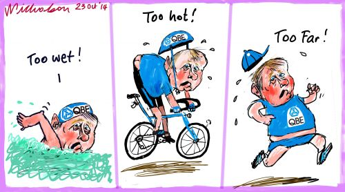QBE too wet too hot Margin Call business cartoon 2014-10-23