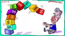 Kroger big gain from Kinder company sale Margin Call business cartoon 2014-10-24