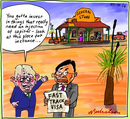 Robb adjusts visas to get would-be Chinese visa seekers to invest in capital starved industries rather than things like residential housing  cartoon 2014-10-25