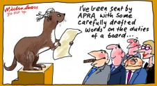 APRA weazle words for vague definition lets company directors off hook Margin Call Business cartoon 2014-10-3020