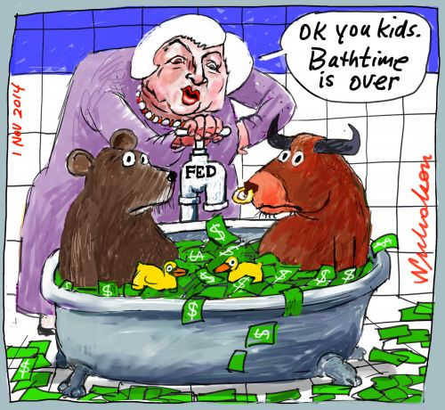 Janet Yellen Federal Reserve turns off tap Business cartoon 2014-11-01