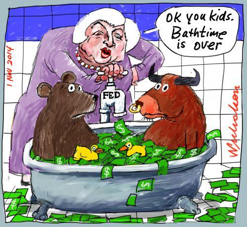 Janet Yellen Federal Reserve turns off tap Business cartoon 2014-11-01