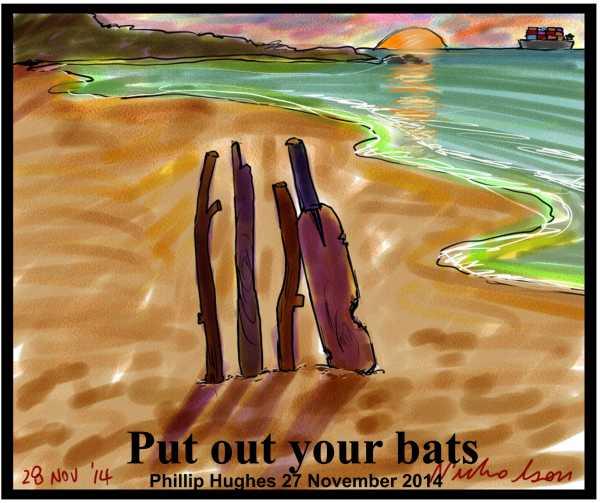 2014-11-14 Phillip Hughes memorial beach cricket Put out your bats inscription