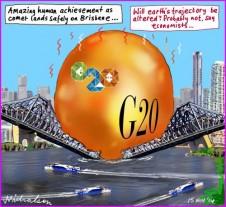 Comet lands safely on Brisbane G20 Business cartoon 2014-11-15