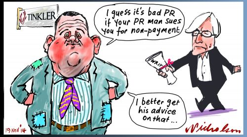 Tinkler taken to court by Allerton for non-payment Bad PR Margin Call business cartoon 2014-11-19