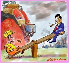 Oil iron price collapse seesaw Business cartoon 2014-11-29